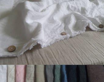 White Linen set:duvet cover+two pillowcases with fringe chocolate duvet cover buttons closure navy bedding bedroom decor Designer bedding