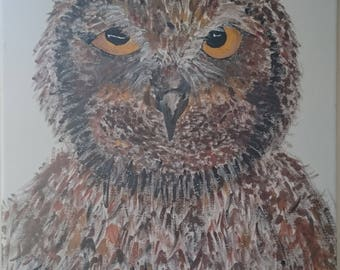 "Handpainted Owl Painting ""Ozzie"""