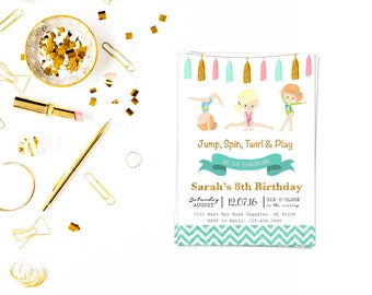Glitter Gymnastic Invite_3,GYMNASTIC Birthday Invitation, Printable Gymnastics invitation, Gymnastic Invite, Gymnastic Party