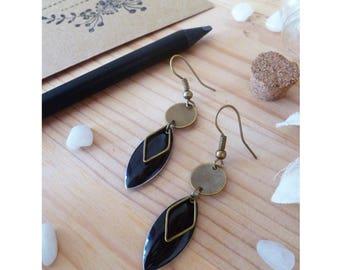 EDEN earrings, bronze & black diamond pendant ▲ ▲!