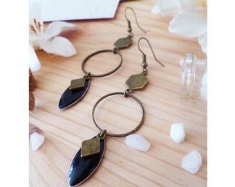 AGAITA ▷ long earrings, rings & Black enamel.