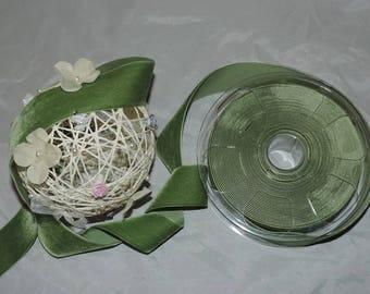 Velvet ribbon width 36 mm - Olive green 53 / 1 m