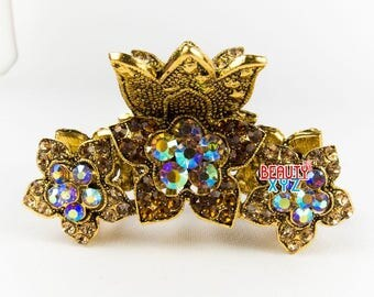 New brown Crystal Metal flowers Hair Claws Pins Clips
