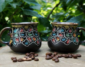 Wedding gift ideas for women birthday gifts for aunts Small coffee cup set Colorful cups Retirement gifts Clay coffee mugs Black coffee