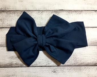 TIED, Navy Headwrap,Blue Headwrap,Baby Headband,Toddler Headwrap, Big Bow, Headband, Infant Headwrap, Baby Girl Headwrap, Infant Headwrap