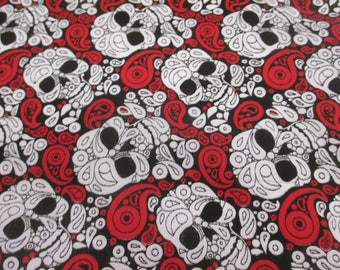 Black & Red Skulls and Paisley Printed Polycotton Craft Fabric, Price Per Metre
