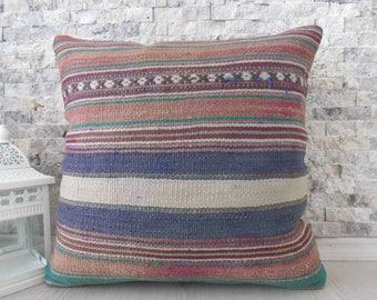 floor pillow 16x16 boho pillow striped pillow decorative pillow multicolour Pillow home decor sofa pillow Turkish kilim pillow