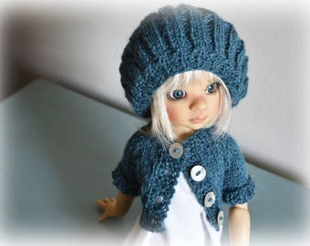 Sweater/tam set in blue* Kaye Wiggs MSD BJD dolls. BJD doll/model/props *not* included.