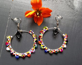 Glass beads and crystal earrings / / multicolor