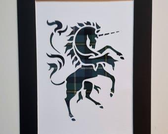 Scottish Rampant Unicorn Tartan Art Picture  Scotland Gifts