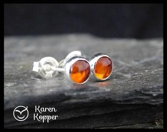 Amber cabochon earrings, 5 mm, in a sterling silver bezel, handmade. Stud earrings. Post earrings.  194