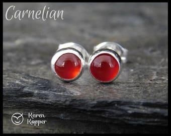 Read carnelian earrings, 5mm gemstone cabochon, sterling silver bezel, second earrings, stud earrings, ready to ship. 130