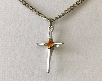 """Vintage birthstone cross, small dainty cross, layering cross necklace, rhodium plated 7/8"""" lg cross with 16"""" lg silver chain."""