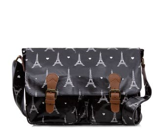 College Crossbody laptop bag- Oilcloth Zip computer bag- Paris black bag- School Messenger bag- Oil cloth ladies purse- Laminated waterproof