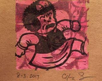 Signed pop art block print warhol marvel nancy comic books