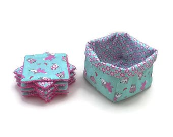 Set of 8 large wipes in cotton and towelling, with her basket.