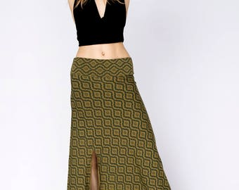 festival clothing Long tribal printed Burning man skirt psychedelic sacred geometry earthy pixie skirt burning man festival skirt Goa