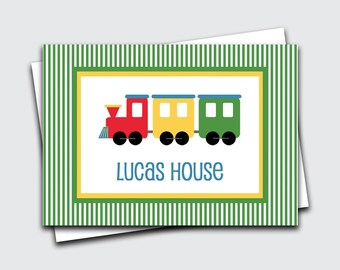 Train Boys Gift Tags / Choo Choo Enclosure Cards / Personalized Calling Cards for Kids / Transportation Name Tags  (Item #1702-034CC)