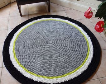 tapis rond en trapilho crochet 100 cm de diam en beige. Black Bedroom Furniture Sets. Home Design Ideas