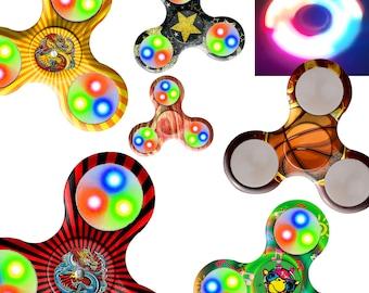 Fidget Spinner Custom Print LED Flash Lights Metal Ball Bearing Toy Gift / Red Blue Dragon / Giraffe / Stars / Basketball Fire / Wood Grain