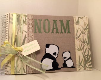 Album or guestbook baby linen for baptism, birth or baby shower panda Theme