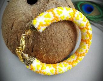 Handmade beaded crochet rope bracelet, beaded bracelet, crochet bracelet, gift for her