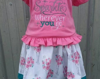 Leave a little sparkle where ever you go outfit -skirt outfit - floral skirt- girls boutique outfit - skirt set - girls clothing