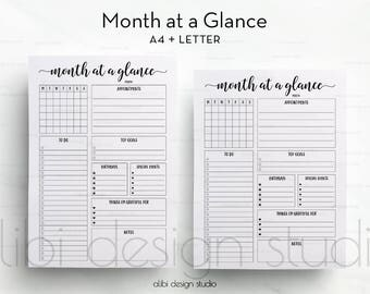 Month at a Glance, A4 Printable, Monthly Planner, Daily Planner, Monthly Printable, To Do List, Printable Planner, Monthly organizer, Letter
