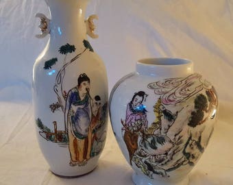 Chinese Porcelain Vases -Famille Style Motifs (2 items)