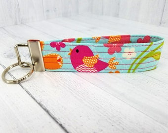 Key Wristlet - Dog Key Fob - Key Ring - Keychain - Vera Bradley style - Bird - Gift for Teacher, Dog Lover, Best Friend, Mom, Pet Sitter