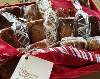 Christmas Gift Basket with handmade baked goods, Holiday Gift Basket, Hostess Gift, Corporate Gift with biscotti, coffee