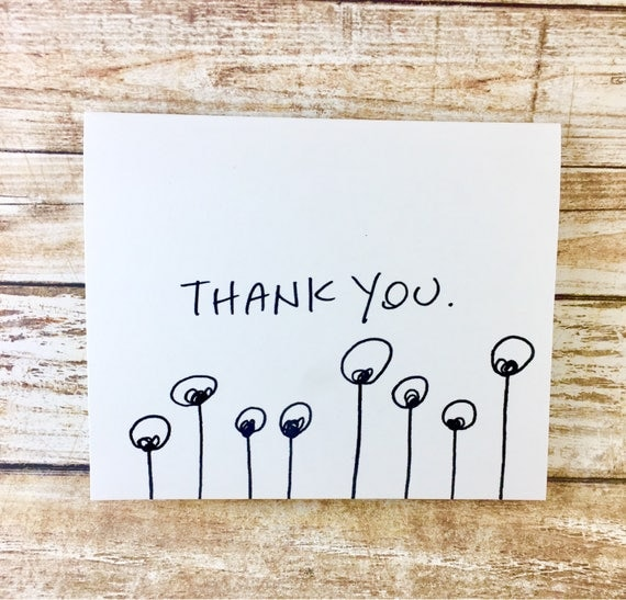 Set of 10 Blank Notecards, unique thank you card, Hand Lettered Thank You Card Set, Thank You Note Card Set, alien thank you, antenna