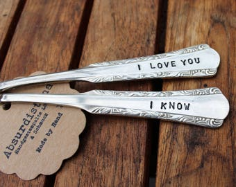"2 Handgestempelte vintage-TBS / / ""I love you - I know"""