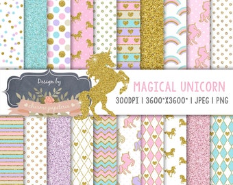 Unicorn digital paper, Gold Glitter Unicorns, Magical Unicorn scrapbook papers, pastel papers, Rainbow digital paper, Unicorn clipart
