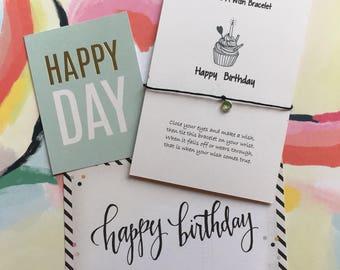 Make a Wish Bracelet / Charm Bracelet -  Happy Birthday with Birthstone Charm - Personalized With Any Name, Birthstone, Birthday Month