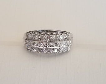 Art Deco 14K  White Gold Diamond Ring Size 6.25