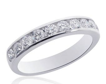 ON SALE 14K White Gold Round Brilliant Cut Diamond Wedding Band 0.75ctw