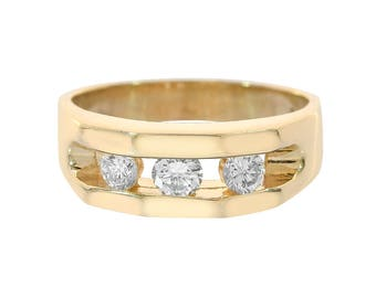 0.50 Carat Round Cut Channel Setting Diamonds Men's Ring 14K Yellow Gold