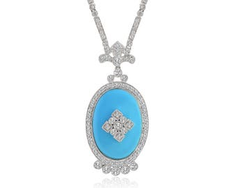 0.75 Carat Diamond Pearl Necklace With Blue Onyx 18k White Gold