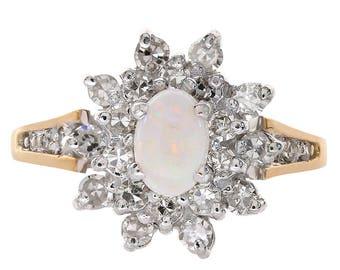 0.35 Carat Opal & 0.35 Carat Diamond Ring 10K Yellow Gold