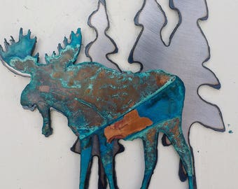 Patina Moose Beneath the Trees Mini Sculpture