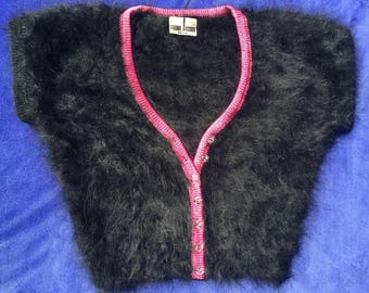 Black angora sweater/pink trim - a Shanie Jacobs original!