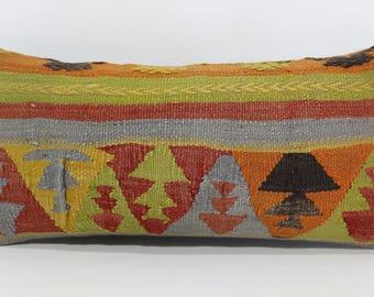 Anatolian Kilim Pillow Boho Pillow Sofa Pillow 12x24 Naturel Kilim Pillow Home Decor Throw Pillow Cushion Cover SP3060-811