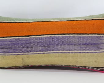 Striped Kilim Pillow Boho Pillow 10x20 Naturel Kilim Pillow Lumbar Kilim Pillow Anatolian Kilim Pillow Cushion Cover  SP2550-1013