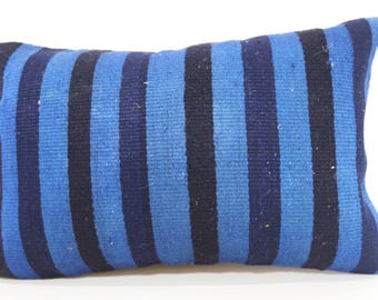 Blue Black Kilim Pillow Floor Pillow 16x24 Handwoven Kilim Pillow Turkish Kilim Pillow Ethnic Pillow Cushion Cover SP4060-762