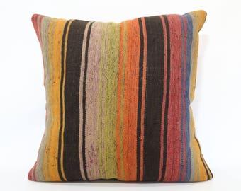 24x24 Multicolor Kilim Pillow 24x24 Chic Pillow Striped Turkish Kilim Pillow Anatolian Kilim Pillow Bohemian Cushion Cover   SP6060-1317