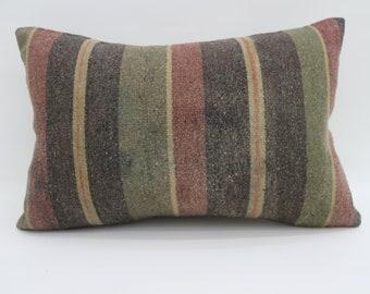 16x24 Kilim Pillow Striped Kilim Pillow Multicolor Kilim Pillow 16x24 Sofa Pillow Boho Pillow Red and Yellow Kilim Pillow SP4060-1386