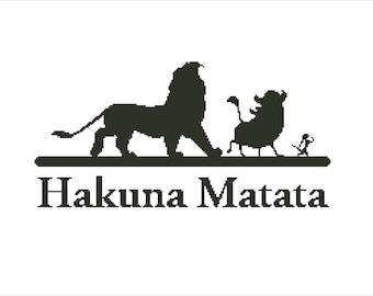 Buy 2 Get 1 Free- Disney cross stitch-Simba-Timon-Pumba-Modern cross stitch pattern-The lion king- Hakuna Matata PDF pattern-Download-P-66