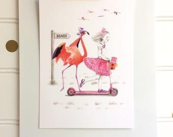 To The Beach, Postcard, Mini Print, 4x6 Inches, Girl and Flamingo