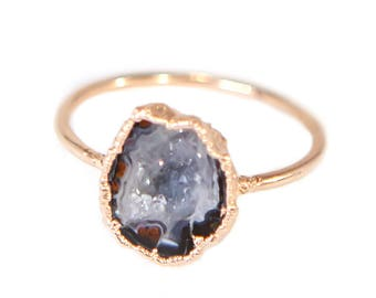 Raw Stone Ring Raw Crystal Ring Boho Ring Gemstone Ring Stacking Ring Rough Stone Ring Electroformed Ring Gift For Her Raw Gemstone Ring